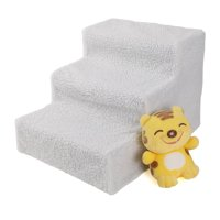 Zimtown Small Pets 3-Steps Stairs Soft Portable Ramp Ladder With Cover For Dog Kitten Up to 70 lbs White Color