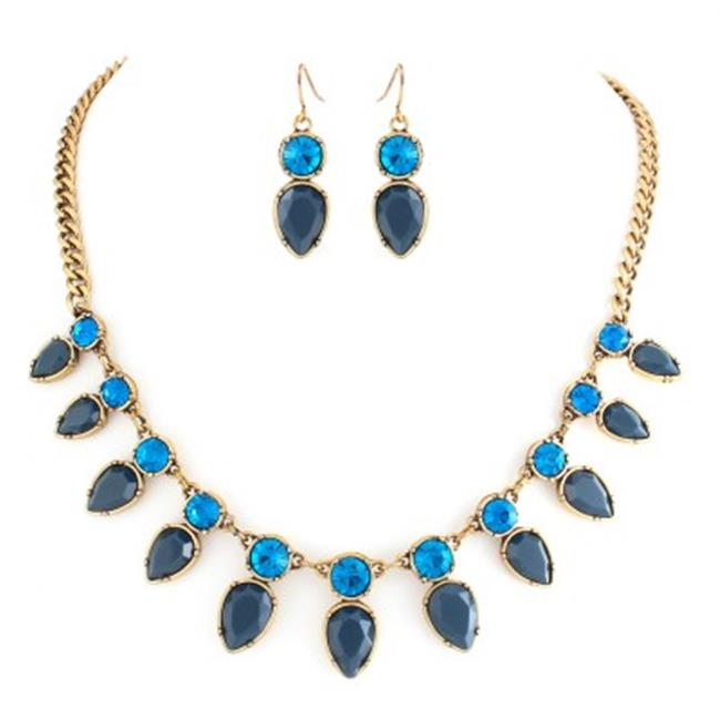 C Jewelry Blue Teardrop Stone With Crystal Necklace Earring Set