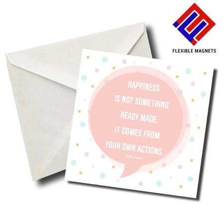 Action Magnet - Happiness Is Not Something Ready Made. It Comes From Your Own Actions Inspirational Quote Magnet for refrigerator. Great Gift! By Flexible Magnets