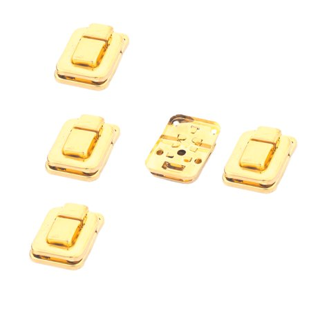 Uxcell Chest Case Box Lock Hook Hinge Latch Hasp Gold Tone 40 x 28mm 5 Sets