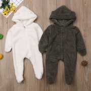 Newborn Baby Girls Boys Fuzzy Hooded Romper Jumpsuit Winter Outfits Clothes