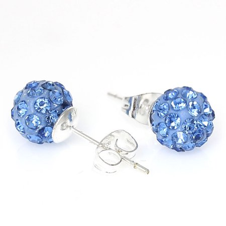 Disco Jewelry Accessories (8mm Light Blue Rhinestones Crystal Fireball Disco Ball Pave Bead Stud)