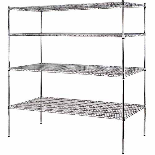 "Muscle Rack 4-Shelf 72""W x 74""H x 36""D Heavy Duty Chrome Wire Shelving Unit"