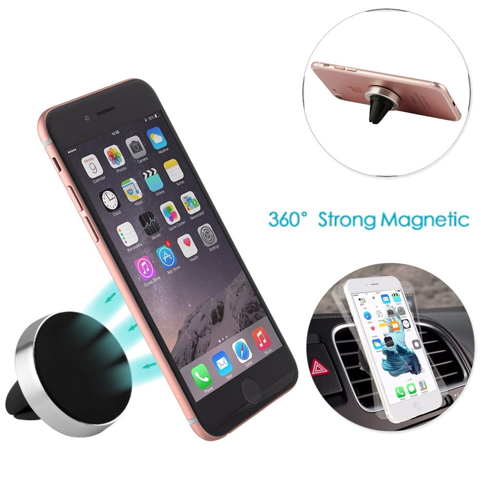 Silver Universal Magnetic Air Vent Mount For iPhone Smartphones