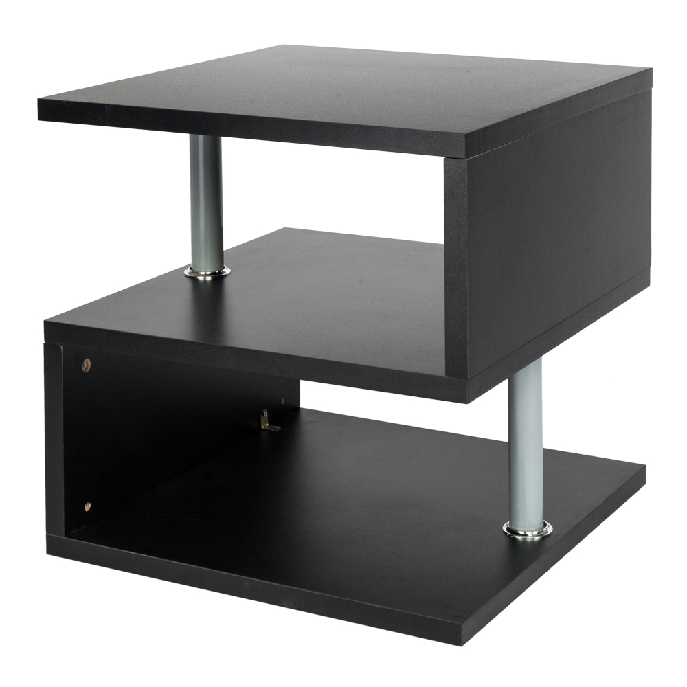 UBesGoo Coffee Table S Shaped Stand Storage Organizer Shelves Living Room Black