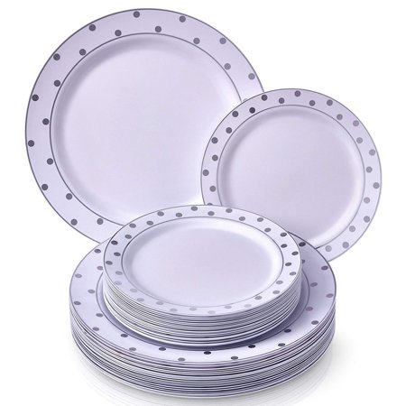 PARTY DISPOSABLE 40 PC DINNERWARE SET | 20 Dinner Plates and 20 Salad or Dessert Plates | Heavyweight Plastic Dishes | Elegant Fine China Look | for Upscale Wedding and Dining (Dots– White/Silver) (Halloween Dinner Party Dishes)