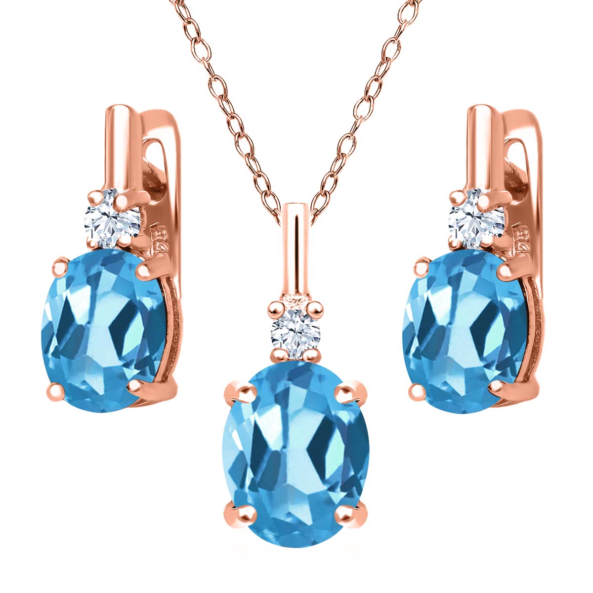 6.68 Ct Swiss Blue Topaz White Topaz 18K Rose Gold Plated Silver Pendant Earrings Set by