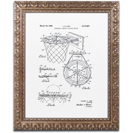 Trademark Fine Art  Basketball Hoop Patent 1965 White  Canvas Art By Claire Doherty  Gold Ornate Frame