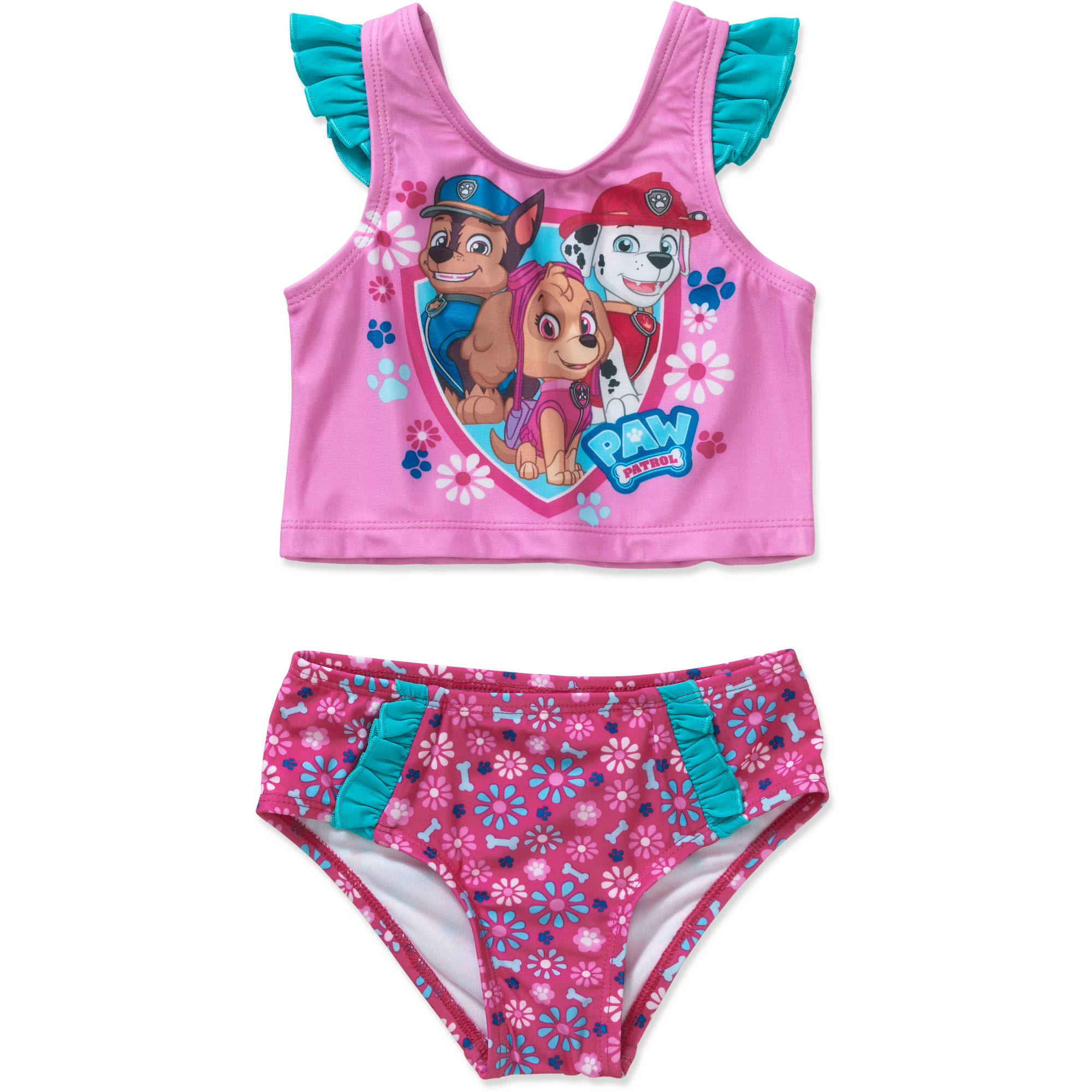 Paw Patrol Chase, Skye, and Everest Toddler Girl Tankini Swimsuit