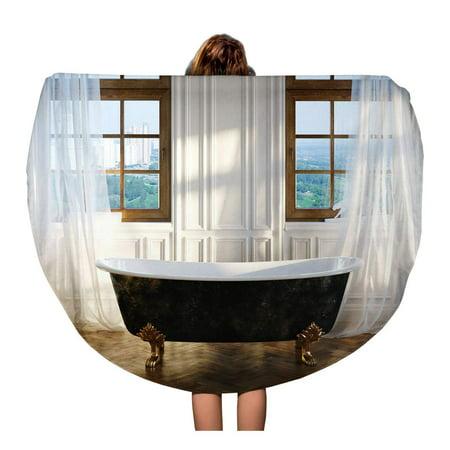 NUDECOR 60 inch Round Beach Towel Blanket Big Bathroom Vintage Iron Bathtub in Center and Windows Travel Circle Circular Towels Mat Tapestry Beach Throw - image 2 of 2