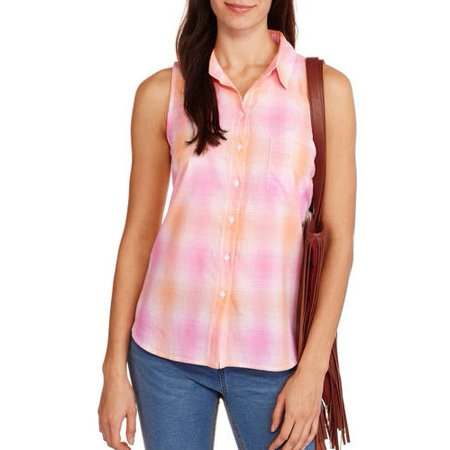 2fbbc69c76c50 Faded Glory - Women s Classic Plaid Sleeveless Button-Front Top -  Walmart.com