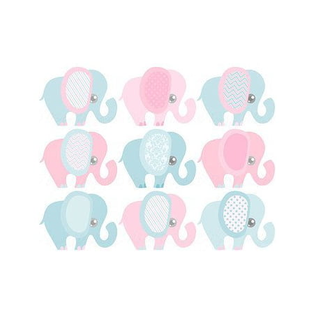 Gender Reveal Baby Shower Pink and Blue Elephants Designer Strips - Edible Cake Side Toppers (3 Strips) (Elephant Cake Topper)