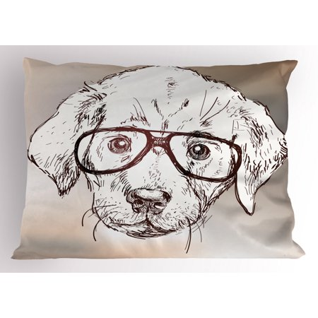 Modern Pillow Sham Cute Hipster Puppy with Glasses Smart Dog Nerd Animal Humor Fun Graphic Design, Decorative Standard Size Printed Pillowcase, 26 X 20 Inches, White Tan Brown, by Ambesonne