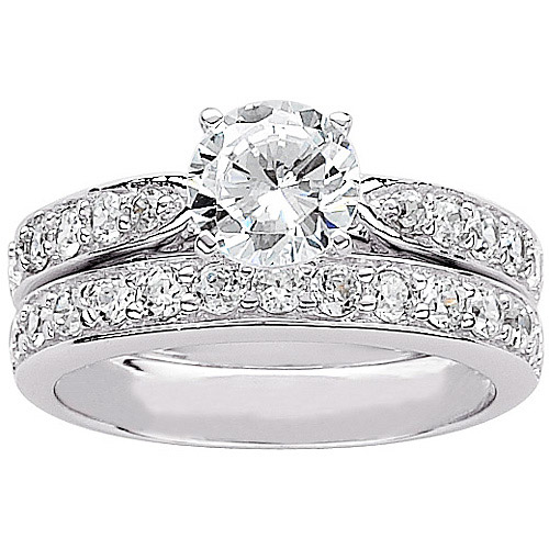 3.1 Carat T.G.W Round CZ Sterling Silver Bridal Set
