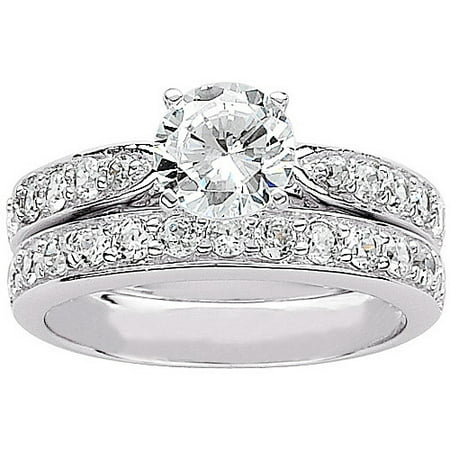 31 carat tgw round cz sterling silver bridal set - Walmart Wedding Ring Sets