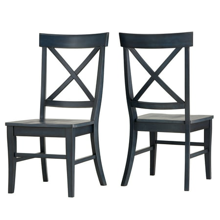 Weston Home Farmhouse Vintage X-Back Back Solid Wood Dining Chair, Set of 2, Multiple Finishes