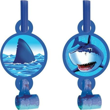Access Shark Splash Blowouts With Medallion, 8 Ct - Shark Birthday Supplies
