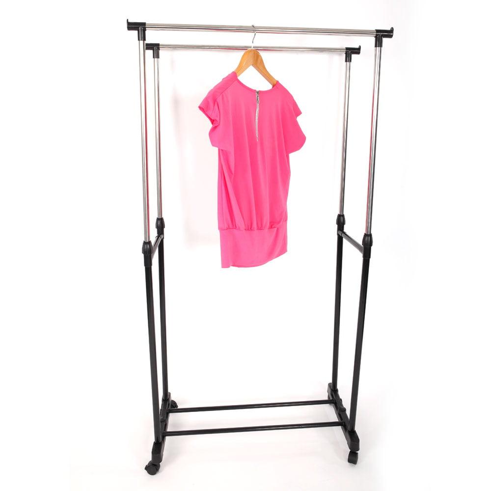 Zimtown Rolling Portable Adjustable Clothes Rack Double Bar Rail Hanging Garment Hanger