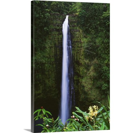 Great Big Canvas Greg Vaughn Premium Thick Wrap Canvas Entitled Hawaii  Big Island  Akaka Falls  Tropical Flowers Blooming In Foreground