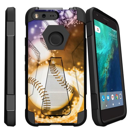 Google Pixel XL , Pixel XL Cover Shock Fusion Heavy Duty Dual Layer Kickstand Case -  Glowing Baseballs