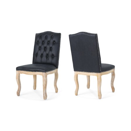 Sophia Traditional Upholstered Dining Chairs, Set of 2, Navy Blue with Natural Finish
