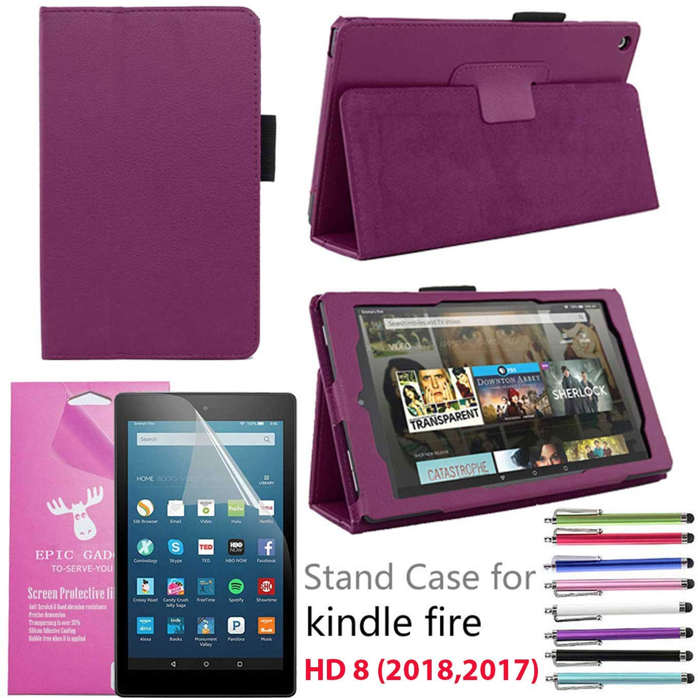 "Amazon Fire HD 8"" Case 2018/2017, EpicGadget(TM) Auto Sleep/Wake Fire HD 8 PU Leather Folding Folio Case with Built in Stand For Fire HD 8 inch (8th Gen/ 7th Gen) + 1 Screen Protector + 1 Pen (Purple)"