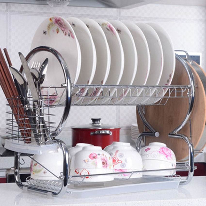 2 Tier Stainless Steel Plate Dish Rack Drainer Drying Rack Space Saver by