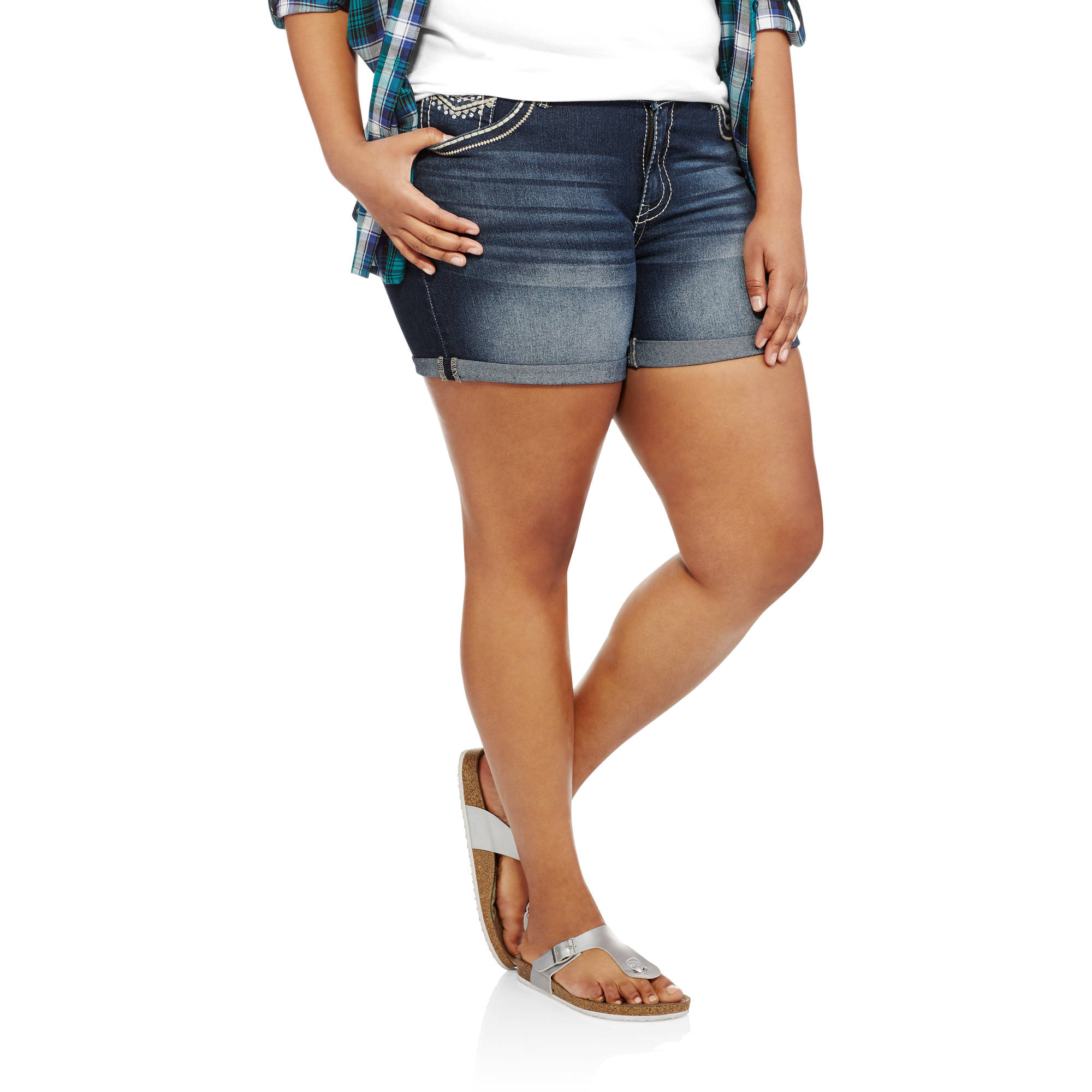 Faded Glory Women's Plus Denim Shorts With Embelishment