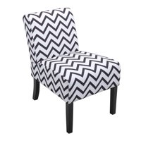 Jaxpety Large Size Single Leisure Sofa Accent Chair Armless with Solid Wood Legs Home Living Room, Black/White