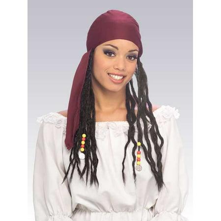 Adult Pirate Buccaneer Bandana W/ Hair Dreads Wig Dreadlocks Costume Accessory - Pirate Costume Accesories