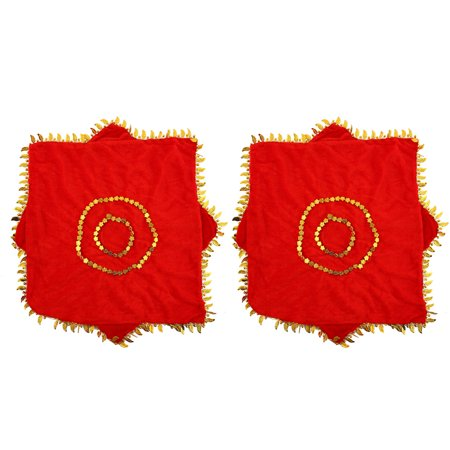 Unique Bargains Gold Tone Leaves Hem Red Dancing Handkerchief 2 Pcs - Red Handkerchief