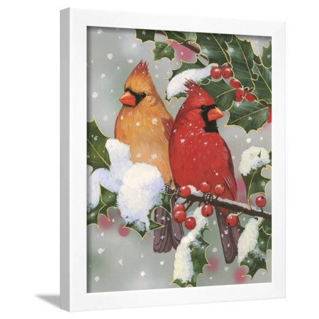 Anime Couples Black And White (Cardinal Couple with Holly Framed Print Wall Art By William)