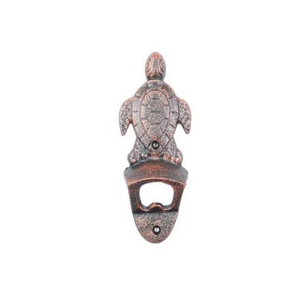 Rustic Copper Cast Iron Wall Mounted Sea Turtle Bottle Opener 6