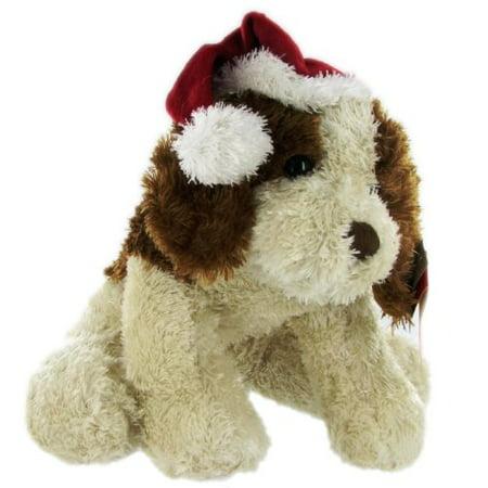 10 Inch Plush Puppy w/ Santa Hat (Puppy Breed That Looks Like A Teddy Bear)