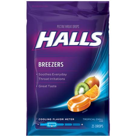 - Halls Breezers Throat Drops, Tropical Chill, 25 Ct