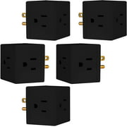 GE 3 Outlet Wall Tap, 5 Pack, Extra-Wide Adapter Spaced, Black