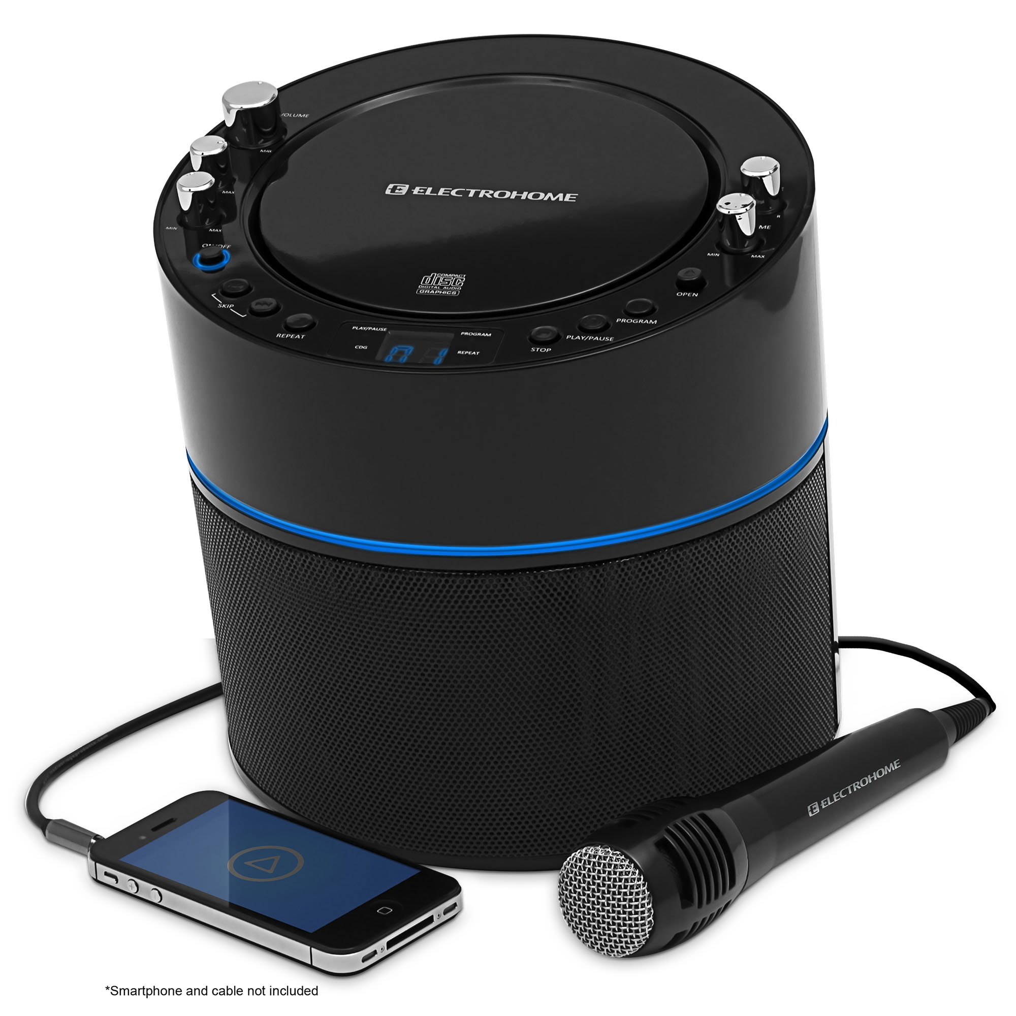 Electrohome Karaoke Machine Speaker System CD+G Player with 2 Microphone Connections,... by ElectroHome