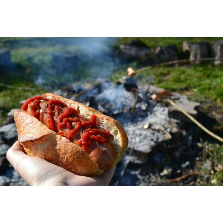 Canvas Print Ketchup Hot Dog Barbecue Sausage Fireplace Bread Stretched Canvas 10 x 14