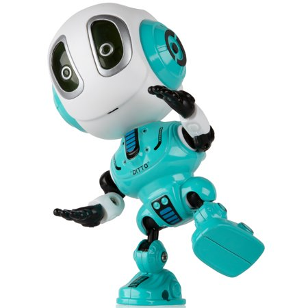 Robot Toys For Kids (Talking Robots for Kids – DITTO Mini Robot Travel Toy with Posable Body, Smart Educational Stem Toys, Voice Changer and Robotics for Kids)