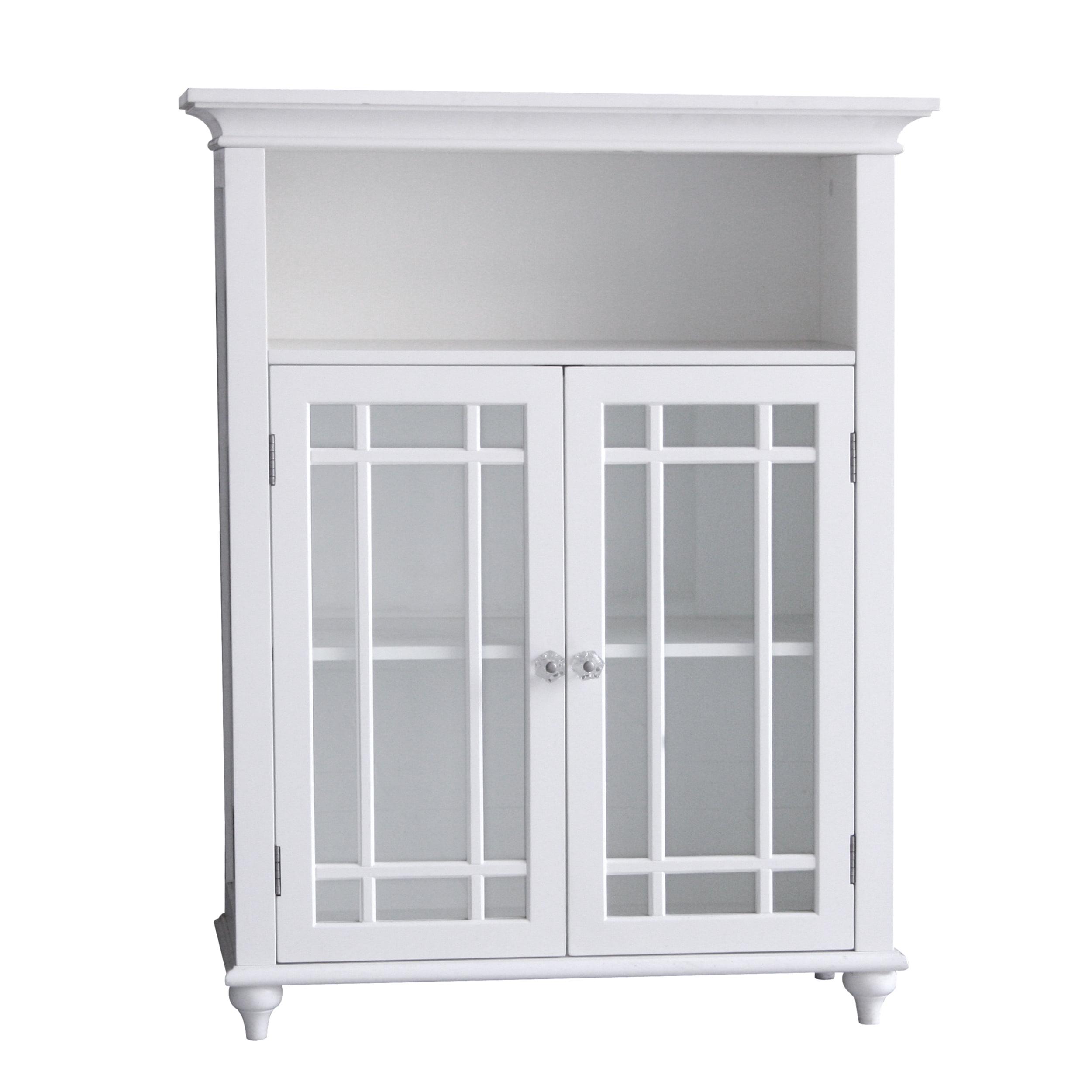 Heritage Double Door Floor Cabinet White Bathroom Storage Organizer ...