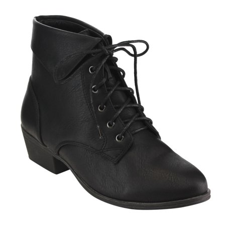 Top Moda EC89 Women's Foldover Lace Up Low Chunky Heel Ankle (Chunky Lace Up Platforms)