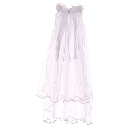 Rain Kids Girls White Clear Crystal Comb Double Layer Communion Flower Girl Veil