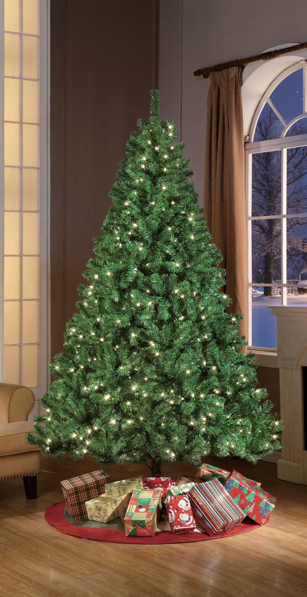 Puleo International 7.5\' Pre-lit Aspen Green Fir Tree - Walmart.com
