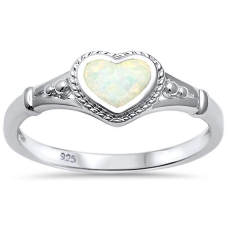White Synthetic Opal Heart Rope Edge Ring Sterling Silver Size 9