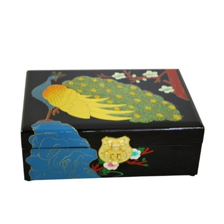 (Elegant Oriental Hand Painting Lacquered Jewelry Box (Peacock))