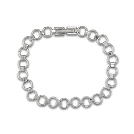 Circle Link Stretch Bracelet (7 Inch Dainty Circle Link Bracelet in Stainless Steel)