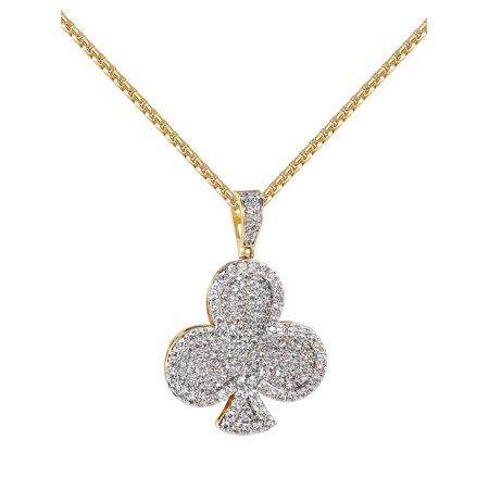 """Playing Cards Club Pendant 14k Gold Finish Full Iced Out Lab Created Cubic Zirconiash 24"""" Chian"""
