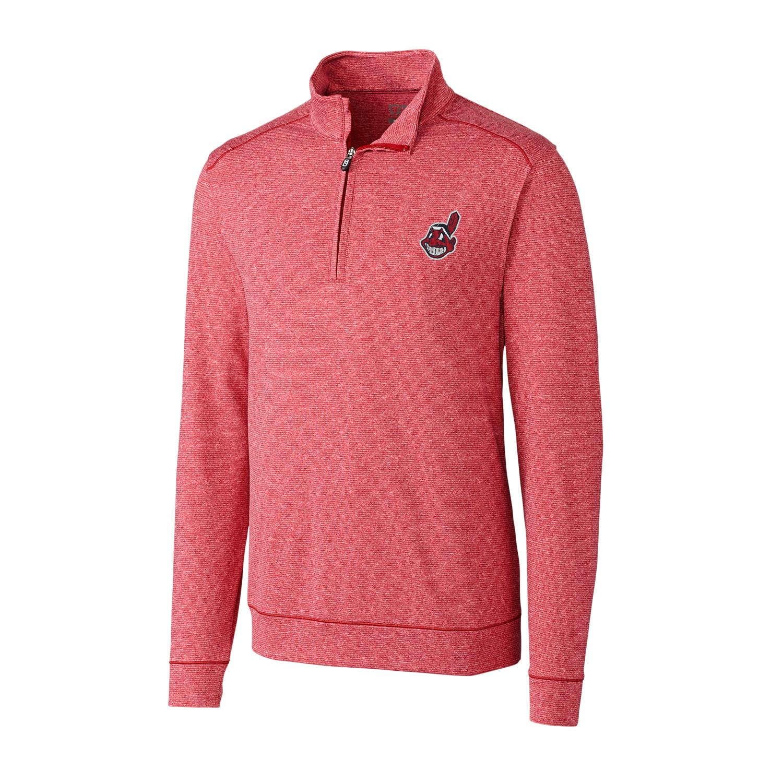 Cleveland Indians Cutter & Buck Shoreline Half-Zip Jacket - Heather Red