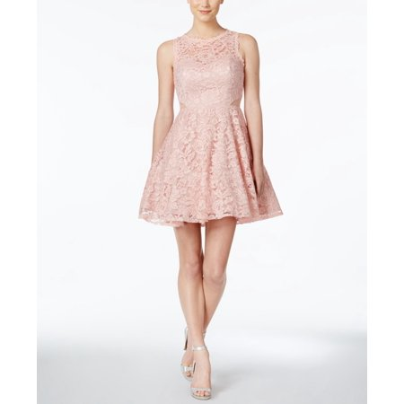 Womens A-Line Dress Blush Floral Lace Fit N Flare 4 Flattering A-line Dress