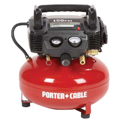 Factory-Reconditioned Porter-Cable C2002R 0.8 HP 6 Gallon Oil-Free Pancake Air Compressor (Refurbished)